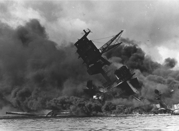 USS Arizona Sinking at Pearl Harbor