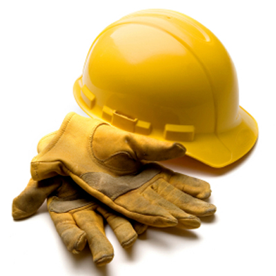 hard hat with gloves